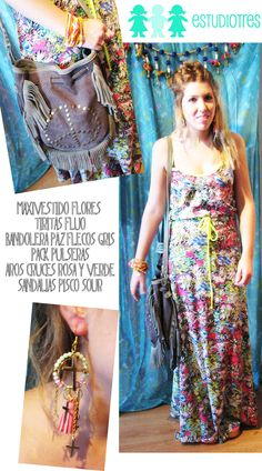 vestido floreado c/ fluo + manojo pulseras + aros cruces + bandolera flecos paz + sandalias pisco.