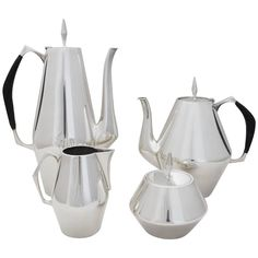 Diamond Sterling Coffee and Tea Service by John Prip | From a unique collection of antique and modern sterling silver at https://www.1stdibs.com/furniture/dining-entertaining/sterling-silver/