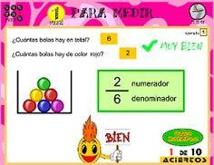 Práctica con fracciones en español.