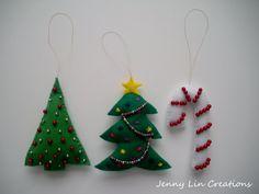 Set Of 3 Holiday Christmas Handmade Felt by JennyLinCreations, $18.00