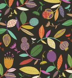 fruits and flowers Textile Patterns, Textile Design, Color Patterns, Fabric Design, Print Patterns, Surface Pattern, Pattern Art, Pattern Design, Flora Pattern