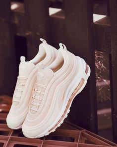 Our most stylish shoe of the month award goes to this new Nike Air Max 97 OG sho. - - Our most stylish shoe of the month award goes to this new Nike Air Max 97 OG shoe in pink and white. It ranks as our favourite Nike Air Max 97 OG shoe. White Nike Shoes, White Nikes, Air Max Nike Shoes, Pink Nike Air Max, Cool Nike Shoes, Running Shoes, Nike Air Max Plus, Pink Nikes, Jordan Shoes