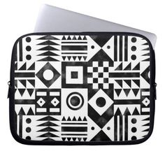 Black White Abstract Geometric Tribal Pattern Laptop Computer Sleeves