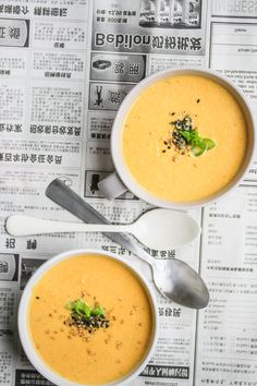 Tahini, Soups And Stews, Cheeseburger Chowder, Thai Red Curry, Cantaloupe, Soup Recipes, Veggies, Fruit, Dinner