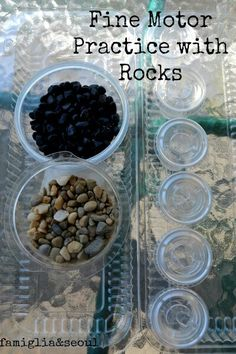 Fine Motor in hand manipulation possibly make it more exciting using jelly beans or marbles