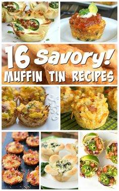 16 Savory Muffin Tin RecipesYou can find Muffin tin recipes and more on our Savory Muffin Tin Recipes Cupcake Pan Recipes, Muffin Pan Recipes, Appetizer Recipes, Dinner Recipes, Appetizers, Appetizer Ideas, Savory Cupcakes, Cooking Recipes, Healthy Recipes