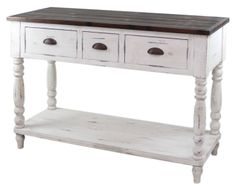 WF052-00-WH: French Farmhouse 3 drawer Console Table Furniture
