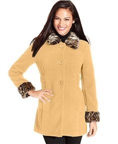 Style Coat, Faux-Fur-Trim Cuffed, Also available in Plus and Petite - Womens Coats - Macy's #MacysFavoriteThings