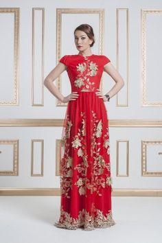 Платье красное с золотым фото