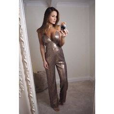 Limited Edition Sam Faiers Wears Bronze Sequin Jumpsuit ($92) ❤ liked on Polyvore featuring jumpsuits, sequin jump suit, wide leg jumpsuits, sequin jumpsuit, brown jumpsuit and jump suit