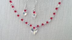 Wild Heart Swarovski AB Pendant Red Necklace by jazzybeads on Etsy