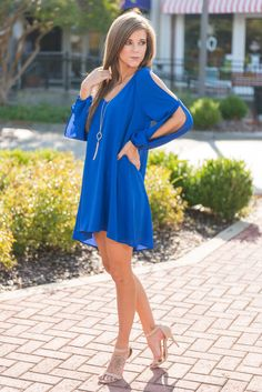 """Swing It Dress, Royal Blue"" Honestly, girl, we have no idea how you're gonna swing it to get this dress before they all sell out! Not only is the shift style fit uh-MAZING to wear, but we love how the romantic sleeves show off some summer skin! #newarrivals #shopthemint"