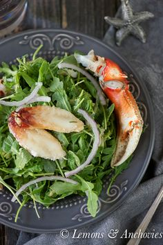 Crab & Arugula Salad with Avocado-Lime Dressing