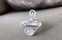 Pink Kunzite and Tanzanite Jewelry - Sterling Silver Spiral Wire Wrapped Ring with Pink Kunzite and Tanzanite by PowerstoneJewelry1 on Etsy