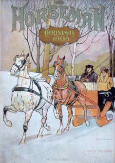 "The Horseman Magazine - Christmas, c.1905 - ""In The Park"". Artist/Illustrator: Edward Penfield."