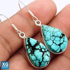 Lucky-Charm-Tibetan-Turquoise-925-Sterling-Silver-Earrings-Jewelry-SE48441