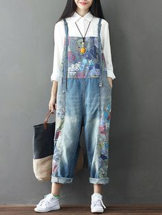 Hot-sale Casual Loose Print Strap Pocket Denim Jumpsuit For Women - NewChic  Mobile Jeans 146db02f1ba7