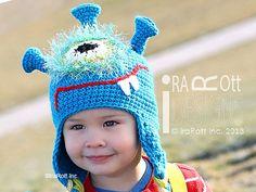 Handmade Crochet Plutonian Paul Alien Halloween Monster Hat for boys and girls of all ages