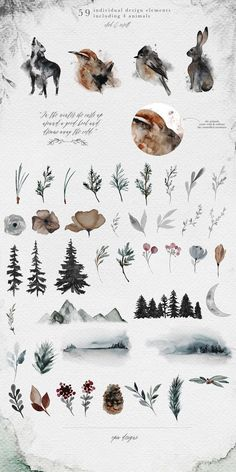 Frostbound – Winter Wonderings Set by OpiaDesigns on Creative Market Frostbound – Winter Wonderings Set von OpiaDesigns auf Creative Market Art Et Nature, Nature Prints, Art Prints, Tree Illustration, Watercolor Illustration, Watercolor Paintings, Watercolor Techniques, Diy Painting, Illustration Animals