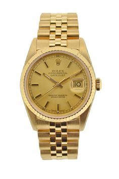 ROLEX Oyster DateJust 18K Gold Automatic Watch - 16238 £11,750.00. The overall condition of this beautiful piece marks 9.5/10 and you would be fooled into thinking this watch has ever been worn. It has just returned from the UK Rolex Service Centre where it was treated to a full service which comes with a 2 year Rolex Service Warranty. As well as the full service, the Crystal & crown were replaced.