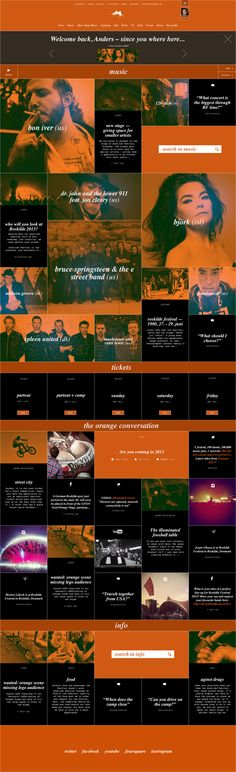 Roskilde Festival. Grid design at its best. // Hi Friends, look what I just found on #web #design! Make sure to follow us @moirestudiosjkt to see more pins like this | Moire Studios is a thriving website and graphic design studio based in Jakarta, Indonesia.