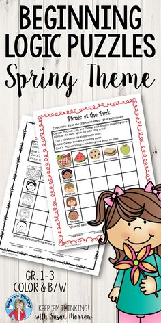 Spring Theme Logic Puzzles promote critical thinking skills in first, second, third grade & homeschool students. Develop skills in logical thinking, problem solving, making inferences, drawing conclusions, recognizing similarities & differences & more while reinforcing reading & math skills. Perfect for morning or center work, a whole group activity, independent work, or small group lesson. These differentiated puzzles of varying difficulty are great for early finishers! {1st, 2nd, 3rd…