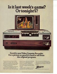1979 Zenith New Video Cassette Reorder Model Vintage Photo Print Ad Old Advertisements, Retro Advertising, Retro Ads, Vintage Tv, Vintage Photos, Electronics Projects, Lps, Radios, Vcr Player
