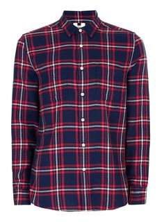 Red and Blue Check Casual Shirt