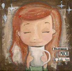 christian artwork, Fine Art art print, tea with quotes, tea lover, tea girl, tea woman, inspirational print - hope much and drink Tea. $24.00, via Etsy.