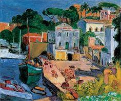 Harbour, Port of Ischia, 1958 by Hans Purrmann, (German, 1880-1966)