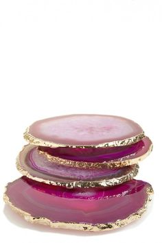Gold Trim Agate Coasters | Calypso St. Barth Home
