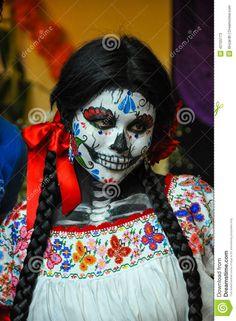 Woman Disguised For Dia De Los Muertos, Puebla, Mexico Editorial Stock Photo - Image: 42155173