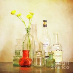 A collection of little old bottles and a few buttercups. Acrylic Wall Art, Clear Acrylic, Contemporary Wall Decor, Modern Art, Glass Wall Art, Glass Vase, Hanging Plates, Epic Art, Vibrant Colors