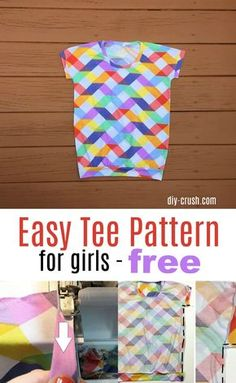 Easy Tee knit t-shirt pattern for girls. Free template download and picture tutorial on the blog | DIY Crush