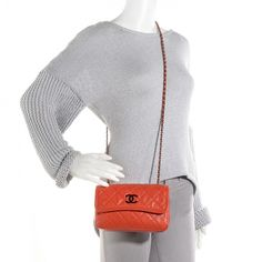 CHANEL Grained Calfskin Small Natural Beauty Flap Dark Orange NEW