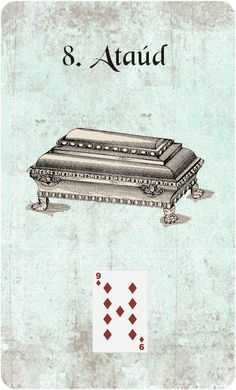 My own design of the 8. Coffin card. / Mi diseño de la carta 8. Ataúd.