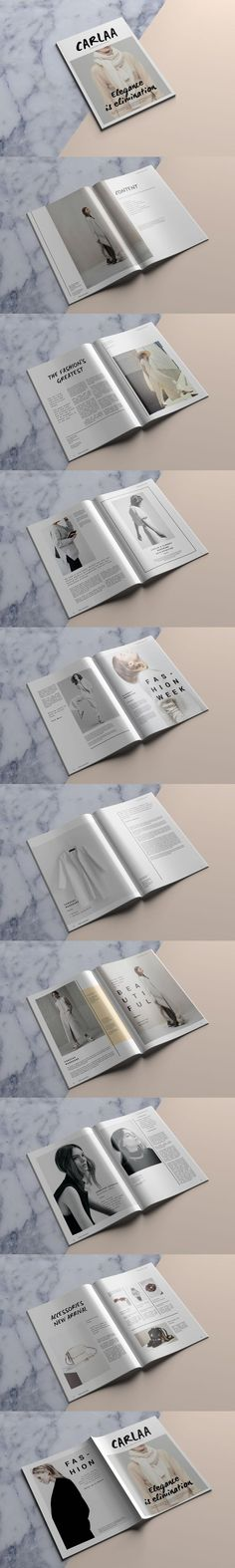 #magazine #design from Kingtown. Co | DOWNLOAD: https://creativemarket.com/kingtown/690628-C-A-R-L-A-A-Magazine-Template?u=zsoltczigler