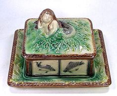 19c Antique Majolica Pottery Sardine Dish Box w Figural Mermaid Cover Lid RARE | eBay