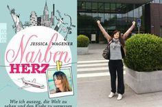 """Rechts: Jessica Wagener kurz nachdem die Ärzte ihr erklärten, dass der Krebs verschwunden sei; ihre Erlebnisse während der anschließenden Weltreise hat sie im Buch """"Narbenherz"""" aufgeschrieben"""