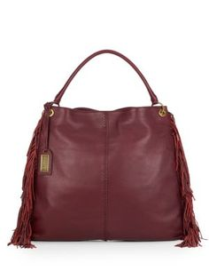 BADGLEY MISCHKA Gaia Leather Fringed Tote. #badgleymischka #bags #leather #hand bags #tote #lining #