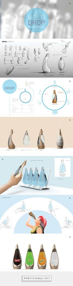 Hold Drop drinking system by Bonny Sunny. Pin curated by (Water Bottle Design) Book Portfolio, Mise En Page Portfolio, Portfolio Layout, Portfolio Design, Product Portfolio, Web Design, Sketch Design, Layout Design, Industrial Design Portfolio