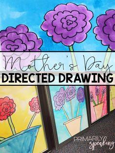 A sweet and simple Mother's Day gift idea. Students complete this directed drawing and then paint with watercolors. Frame the artwork with dollar store frames for an easy, and special, keepsake. (holidays with toddlers kids)