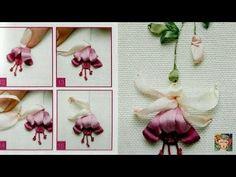 Thêu ruy băng hoa lồng đèn [Ribbon Embroidery] - YouTube