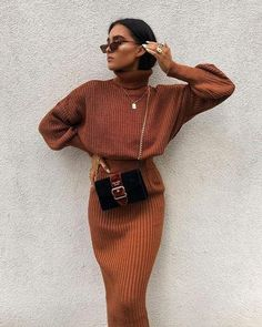 Cosy Autumn Winter Co-Ord Knitted Top And Skirt Co-ord Autumn Fashion Outfit Ideas Casual Weekend Inspo Mode Outfits, Trendy Outfits, Fashion Outfits, Womens Fashion, Fashion Trends, Fashion Clothes, Clothes Women, Fashion Ideas, Fashion Hacks