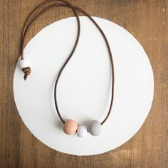 CLAY + LEATHER NECKLACE - PEACH + GREY + WHITE