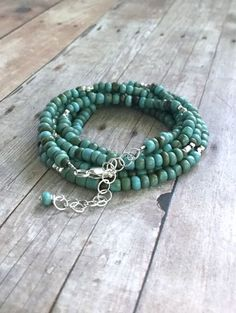 Long Turquoise Necklace or Multi Wrap Bracelet / Rustic Seed Bead Jewelry / Hill Tribe Silver Double Wrap Necklace
