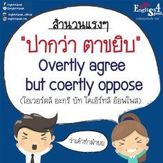 """สวัสดีค่าาาาาาาาา เคยเจอคนแบบนี้กันไหมคะ """"ปากว่า ตาขยิบ"""" คนแบบนี้ เรามีสำนวนภาษาอังกฤษ มาให้เพื่อจำกัดความคนเหล่านี้ 5555 """"Overtly agree .but coertly oppose"""" (โอเวอร์ทลิ อะกรี บัท โคเอิร์ทลิ อ็อพโพส)  #เรียนภาษาอังกฤษออนไลน์ #เรียนภาษาอังกฤษ #ฝึกพูดภาษาอังกฤษ www.english4speak.com"""