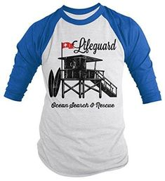 Shirts By Sarah Men's Lifeguard Station Shirt 3/4 Sleeve Raglan Ocean Search Rescue Shirts