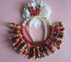Multi-Color Wood Beaded Necklace with matching earrings via Jaysjust4ujewelry