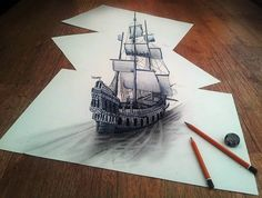 Self-taught Dutch pencil artist Ramon Bruin has taken art to new depths. His drawings bring new life to what would normally be just a piece of paper. The pencil drawings pop out in an optical illusion and play with viewers' eyes. 3d Pencil Art, 3d Pencil Sketches, 3d Sketch, Ship Sketch, Pencil Sketching, Illusion Drawings, 3d Drawings, Amazing Drawings, Illusion Art